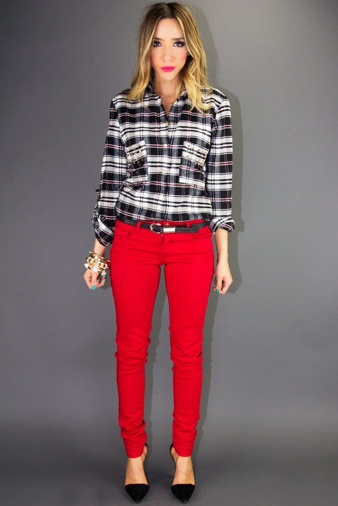 STUDDED PLAID SHIRT - Black  Print