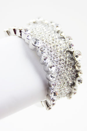 CRYSTALS WIDE SILVER BRACELET - Haute & Rebellious