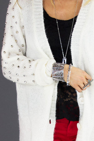 STUDDED SLEEVE KNIT CARDIGAN - Haute & Rebellious