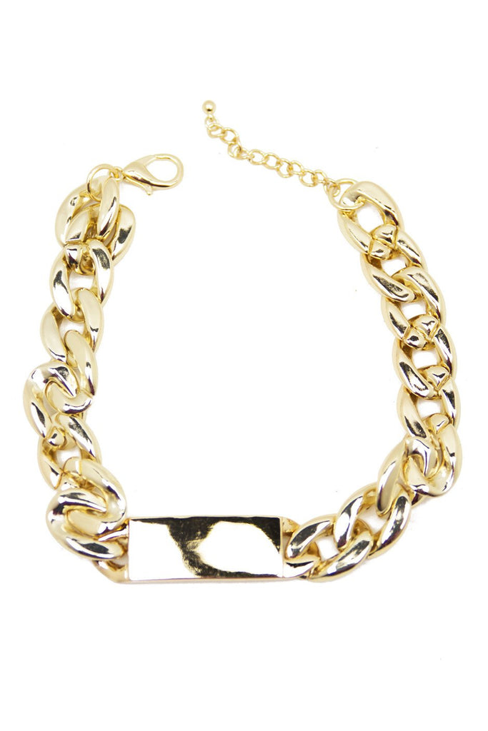 GOLD PLATE & LINK NECKLACE
