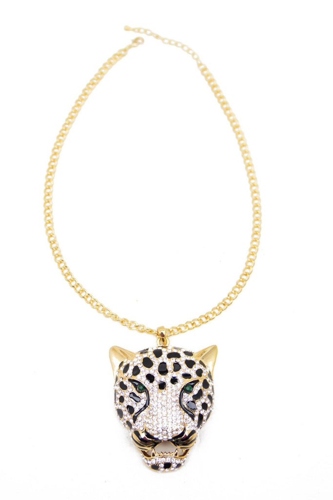 CRYSTAL CHEETAH PENDANT NECKLACE - Haute & Rebellious