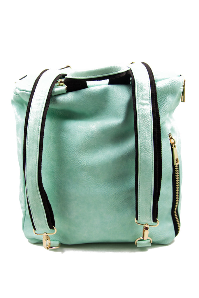 VEGAN LEATHER STUDDED BACKPACK - Mint