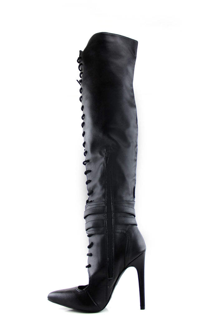 Aster Knee-High Lace-Up Heel Boot