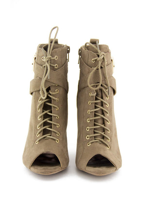 MAISON LACE UP BOOTIE - Beige - Haute & Rebellious