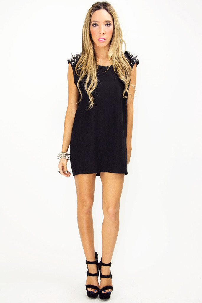 JACK SPIKE SHOULDER TUNIC - Black (Final Sale)