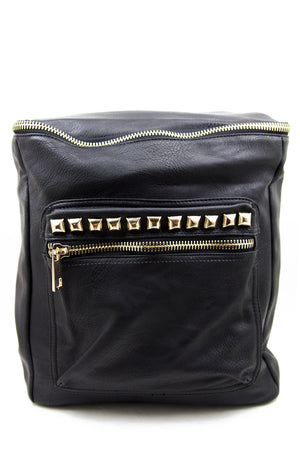 VEGAN LEATHER STUDDED BACKPACK - Black - Haute & Rebellious