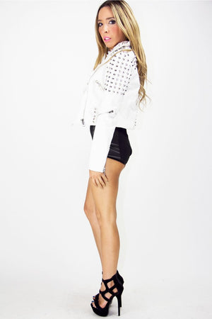 HIGH WAISTED SHORTS WITH PATCHES - Haute & Rebellious