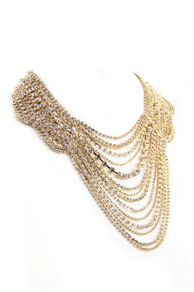 Layered Flat Crystal Necklace - Gold