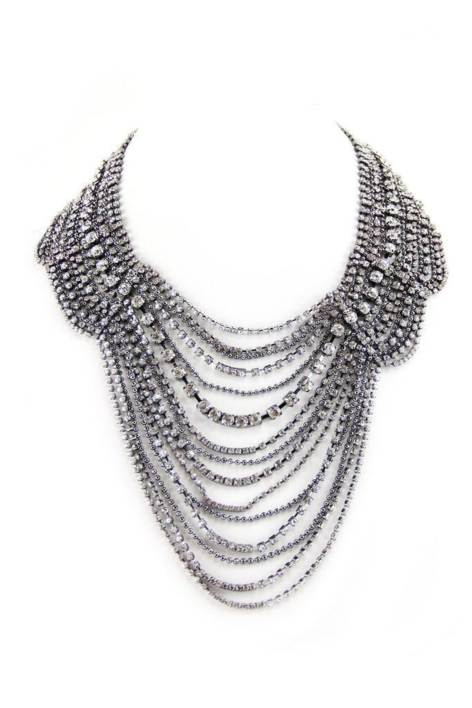 Layered Flat Crystal Necklace - Silver