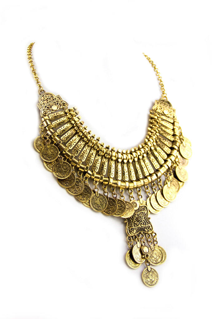 Ella Statement Boho Necklace - Gold