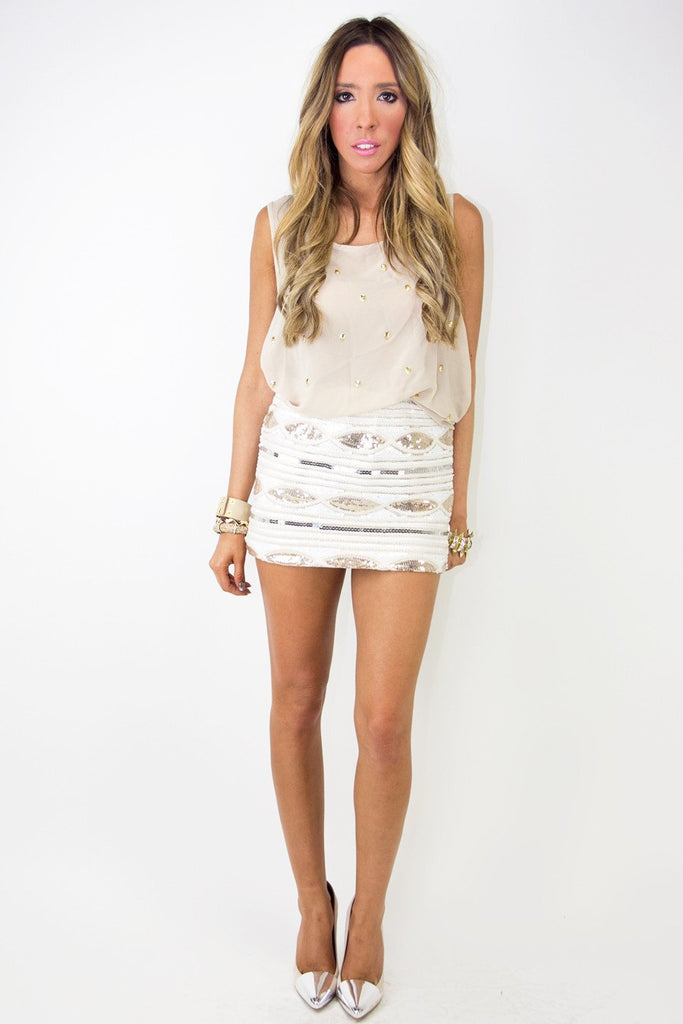 GISELE SEQUIN SKIRT - Gold Sequin
