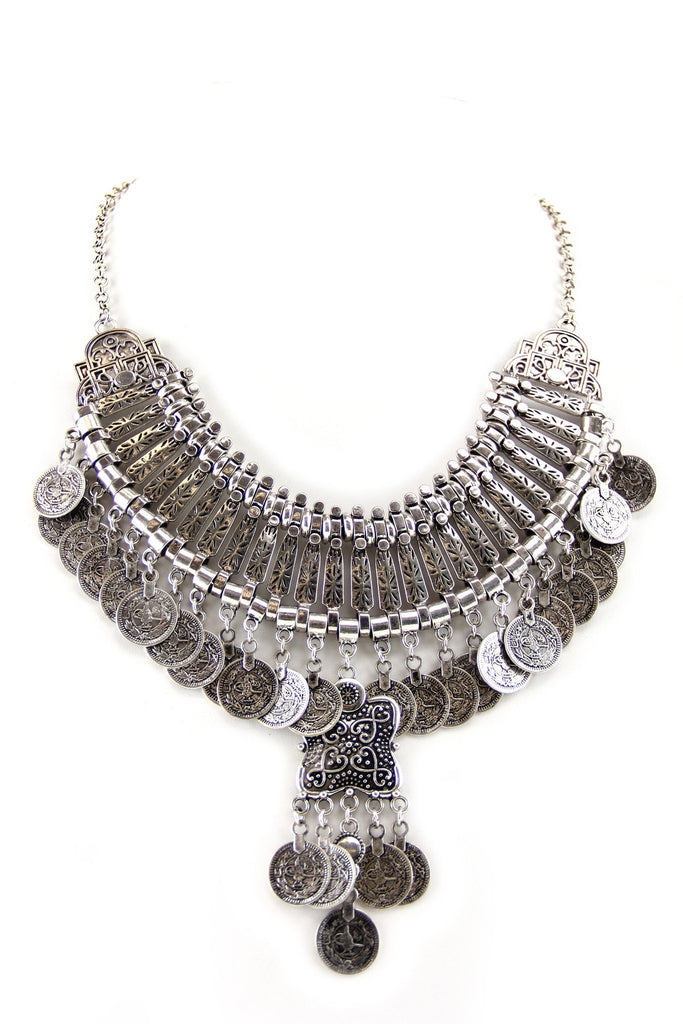 Ella Statement Boho Necklace - Silver