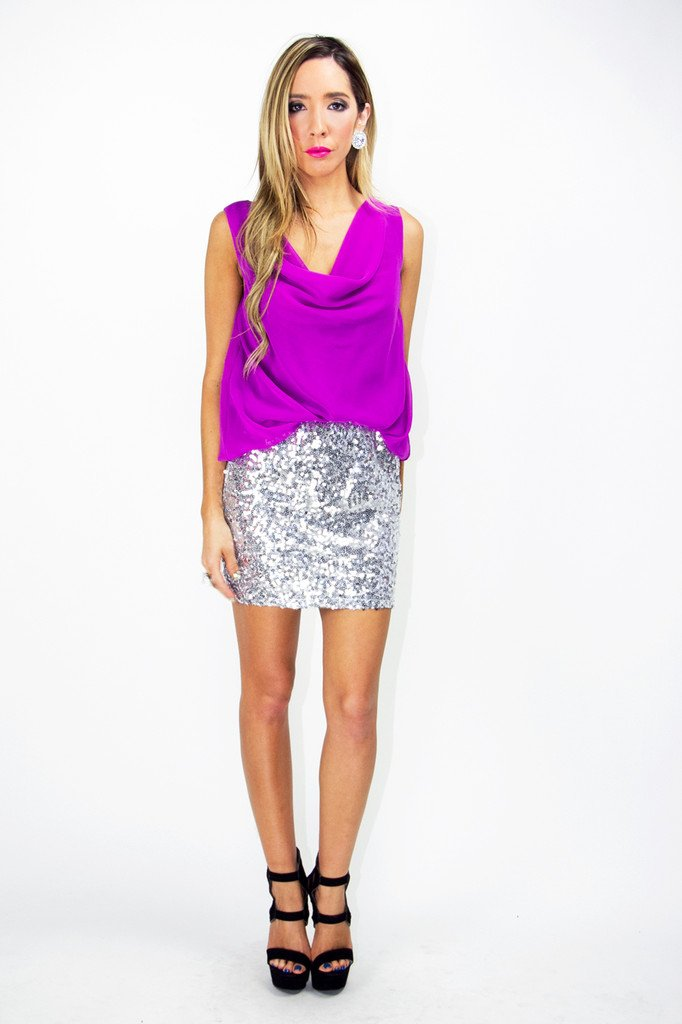 MADISON SEQUIN DRESS - Fuchsia/Silver