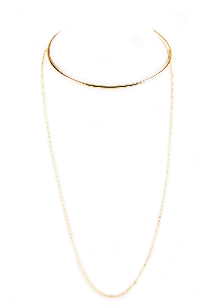 Bar Chocker & Thin Layering Necklace