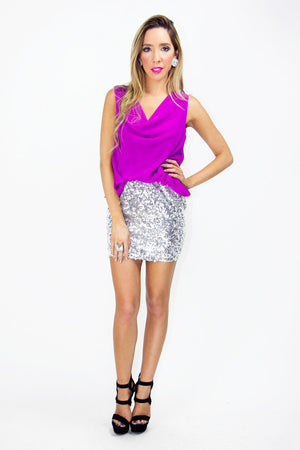 MADISON SEQUIN DRESS - Fuchsia/Silver - Haute & Rebellious
