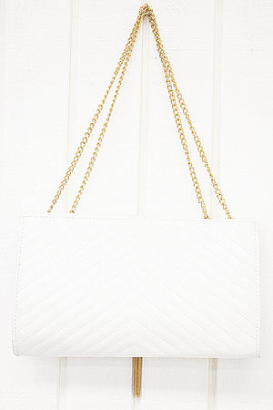 Stanford Chain Crossbody - White - Haute & Rebellious