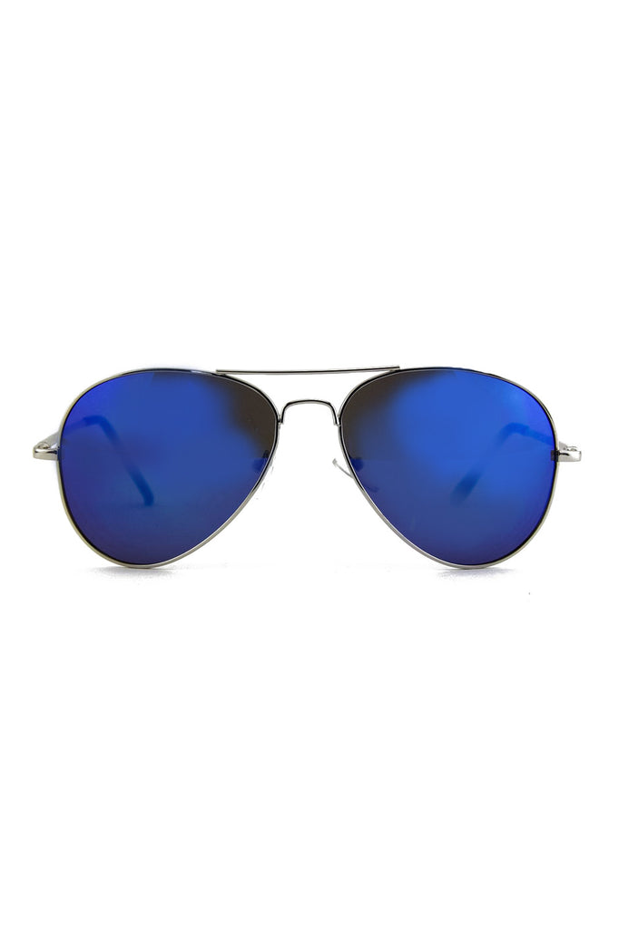 TINTED LENS AVIATOR - Silver/Blue