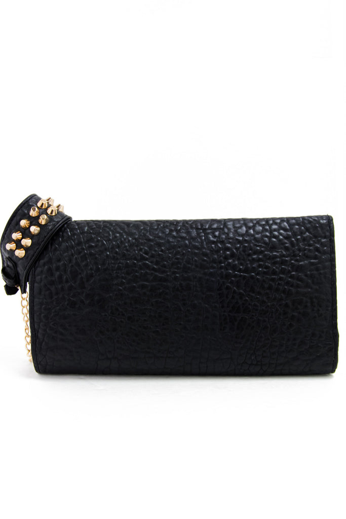 STUDDED CUFF CLUTCH - Black