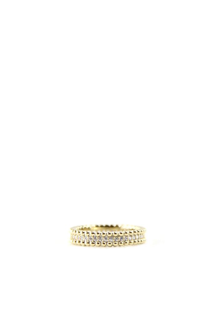 Crystal & Gold Border Ring