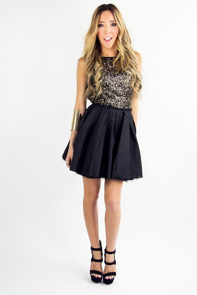 GOLD SEQUIN FULL A LINED SKIRT DRESS - Black/Gold