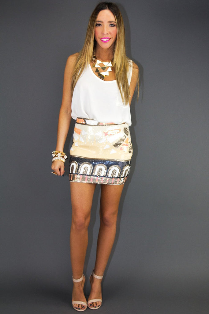 DAKOTA PRINT SEQUIN SKIRT