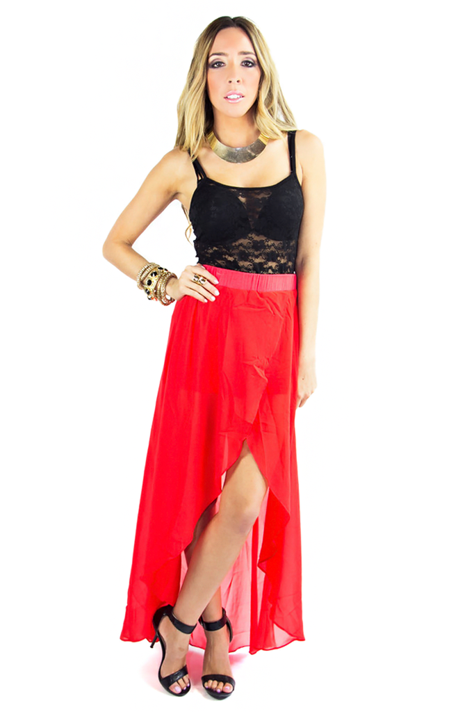 HIGH LOW CHIFFON SKIRT - Red