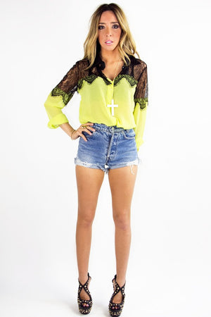 NEON LACE BLOUSE - Highlighter Green - Haute & Rebellious