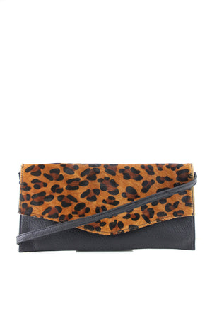 Leopard Fur Flap Envelope Clutch - Haute & Rebellious