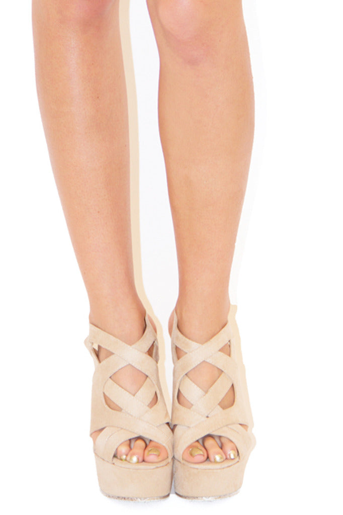 RIHANNA WEDGES - Tan - Haute & Rebellious
