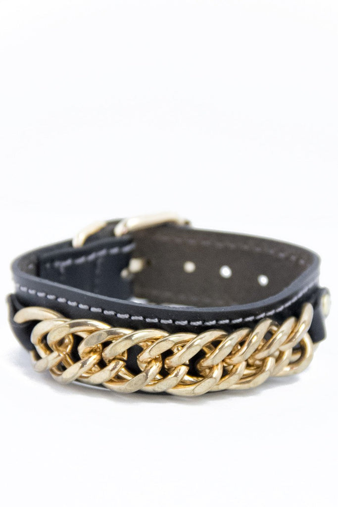 LEATHER & GOLD CHAIN BRACELET