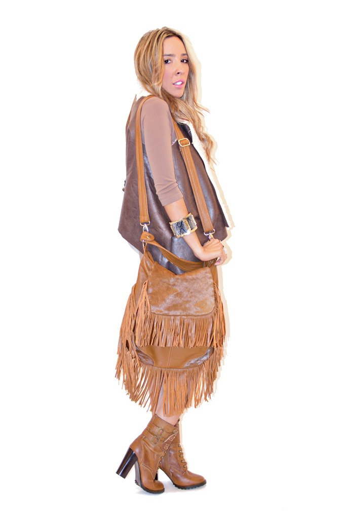 JADE DRAPE SHEEPSKIN VEST- Brown