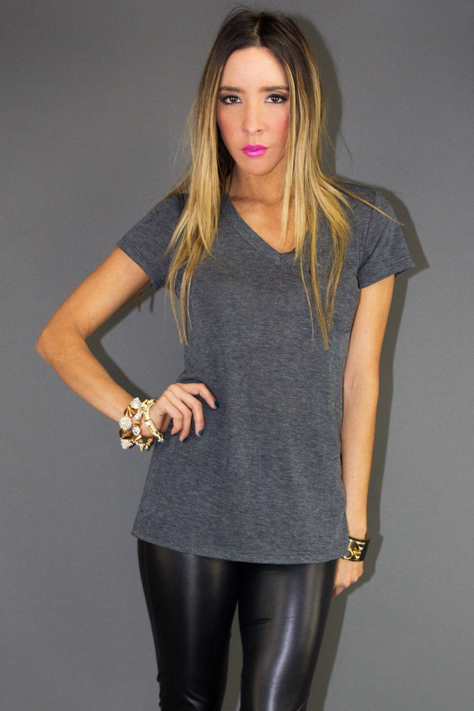 EDDI BASIC V-NECK TEE - Charcoal