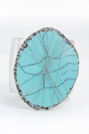 TEAL STONE DENTED METAL CUFF BRACELET - Silver - Haute & Rebellious