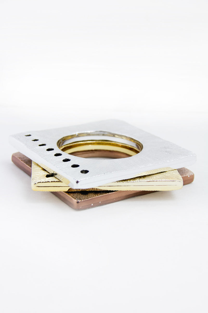 WOOD SQUARE BRACELETS - Gold/Silver/Bronze - Haute & Rebellious