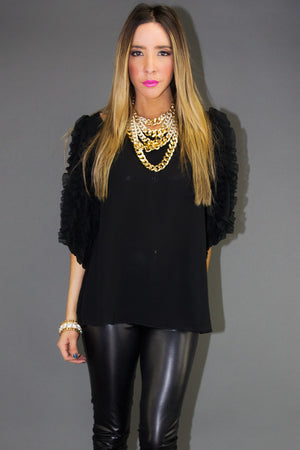 RUFFLE SLEEVE CHIFFON TOP - Haute & Rebellious