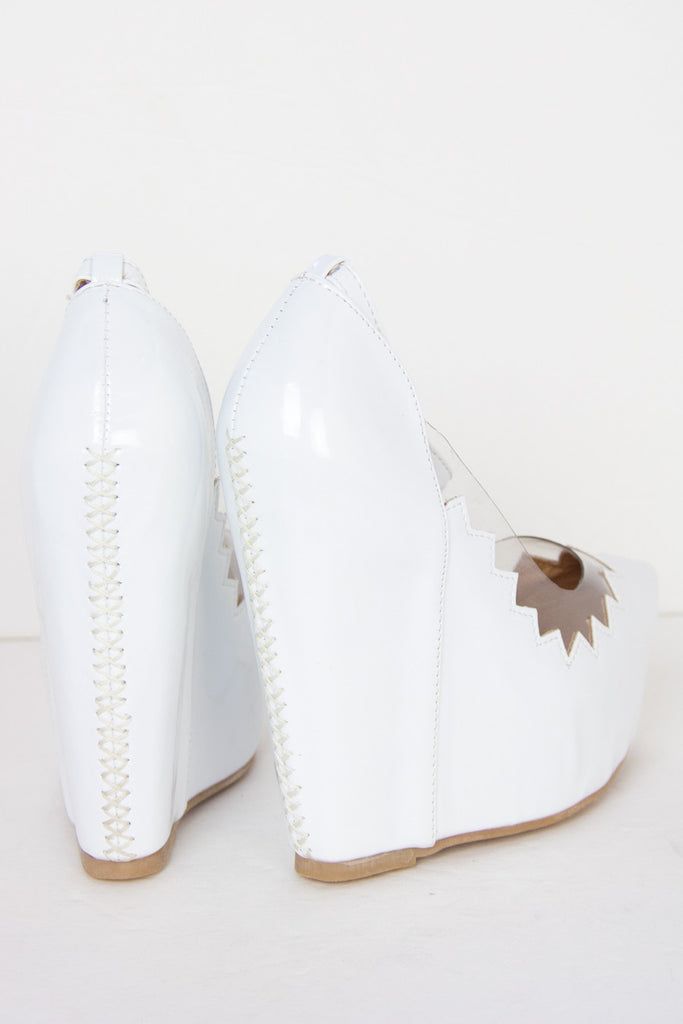 ZIG-ZAG CONTRAST CLEAR WEDGE - White