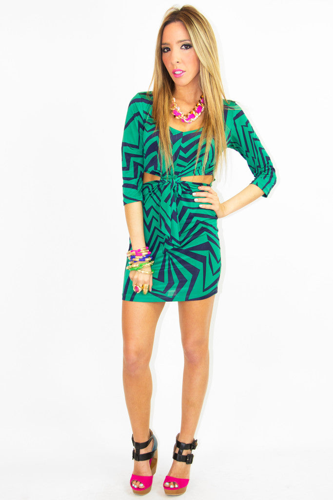 PRINT CUTOUT DRESS - Green/Blue