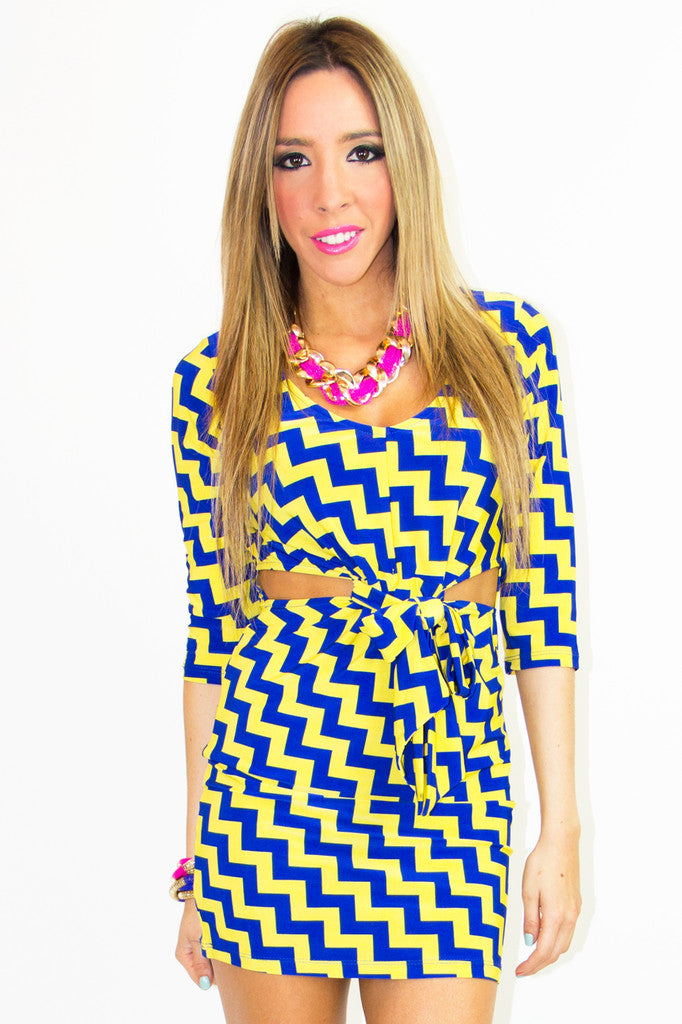 PRINT CUTOUT DRESS - Yellow & Blue - Haute & Rebellious