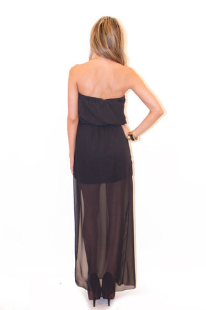 GOLD CHAIN DETAIL CHIFFON MAXI - Black - Haute & Rebellious