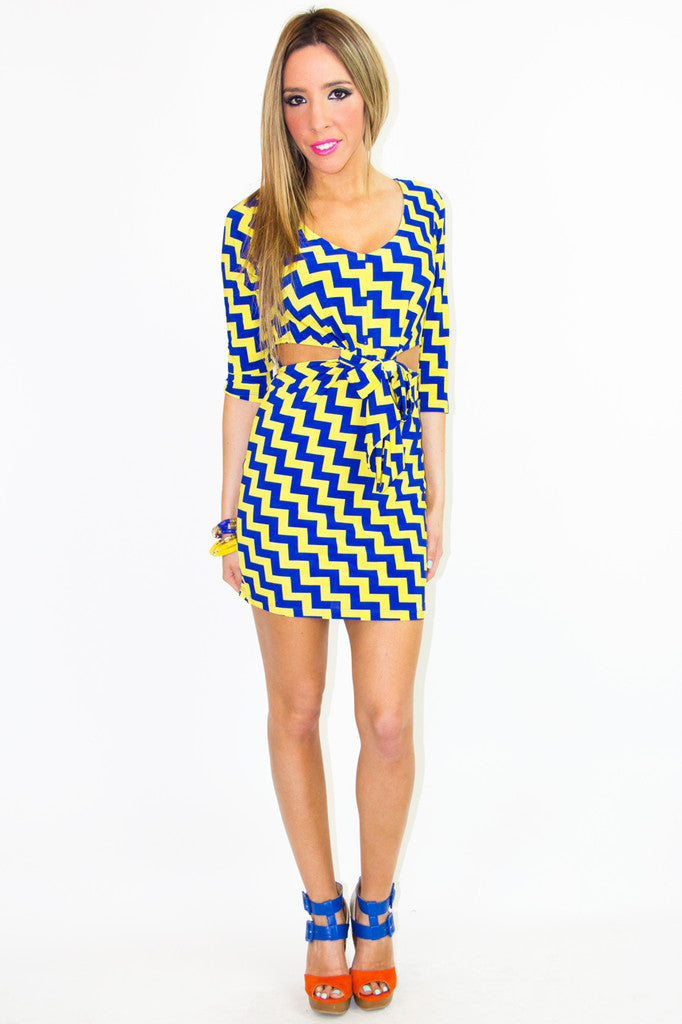 PRINT CUTOUT DRESS - Yellow & Blue