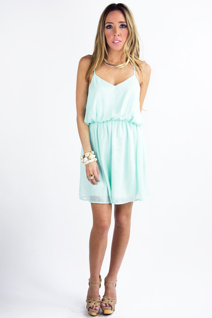 T BACK DRESS - Light Blue