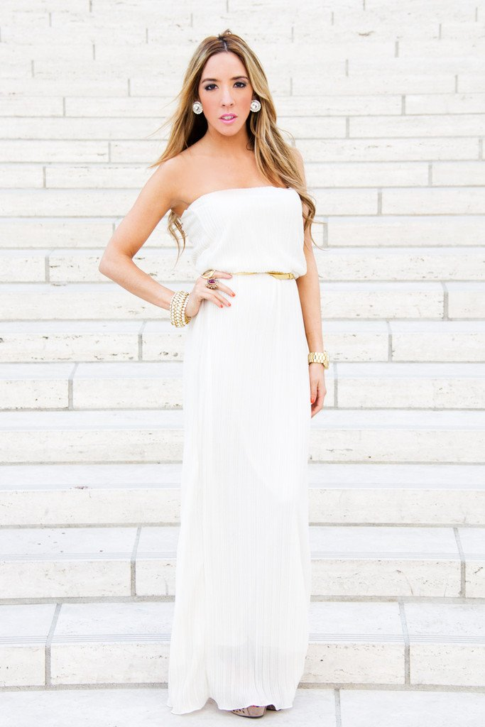 ISABEL LONG DRESS - White/Gold