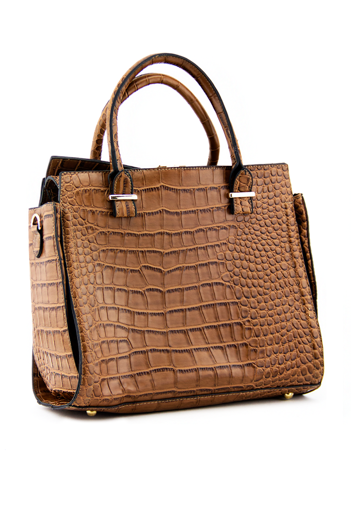 BRISTOL ALLIGATOR HANDLE TOTE - Cognac
