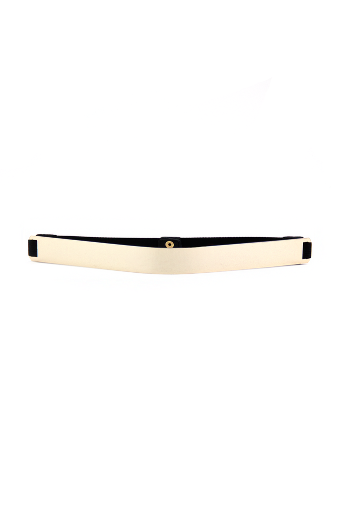 NARROW GOLD PLATED BELT - Black