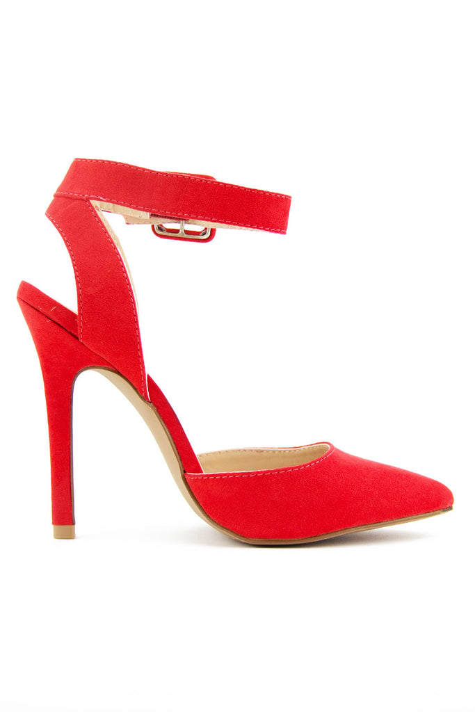 POINTY STRAP HEEL - Blood Orange