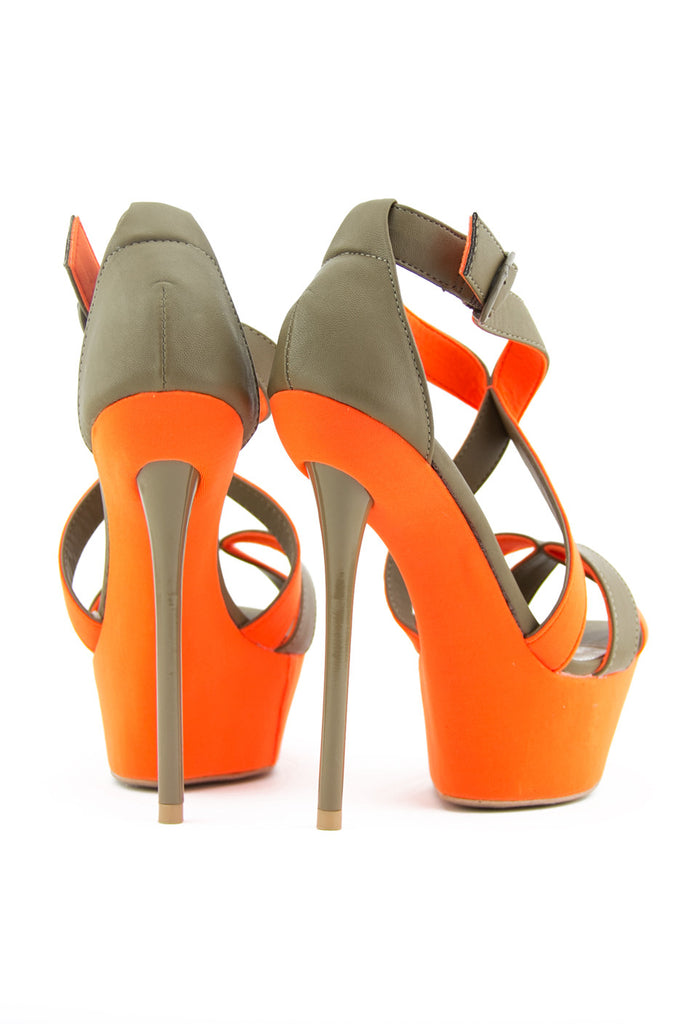 STRAPPY PENCIL NEON HEEL - Beige/Orange