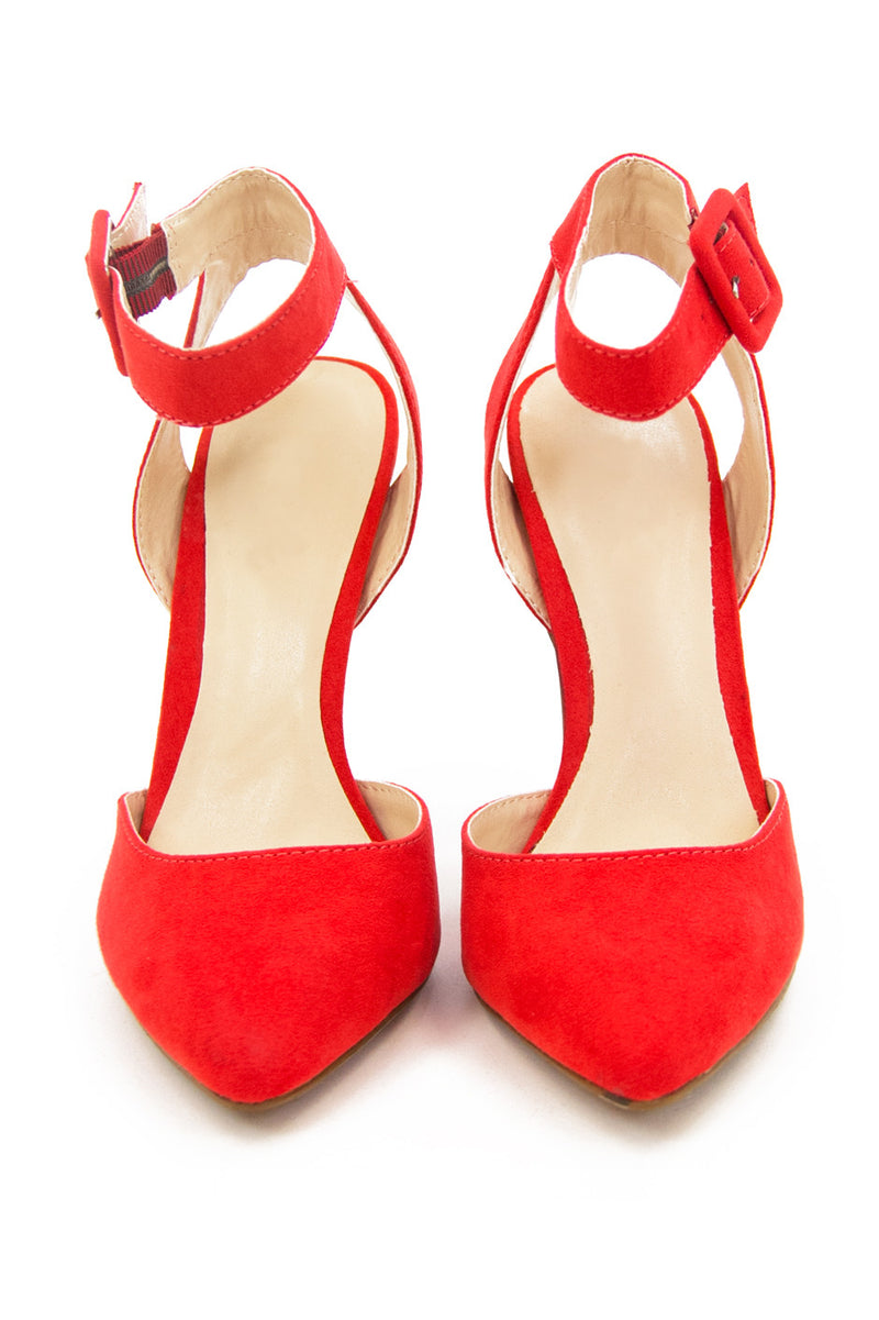 POINTY STRAP HEEL - Blood Orange - Haute & Rebellious