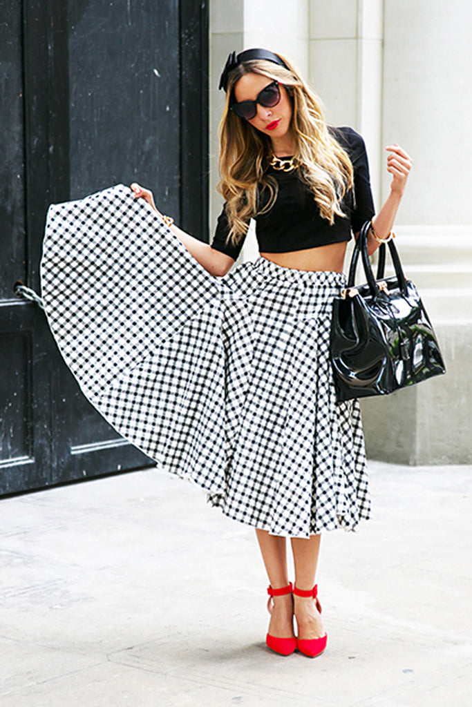 SANDY RETRO CHECKERED SKIRT - Black