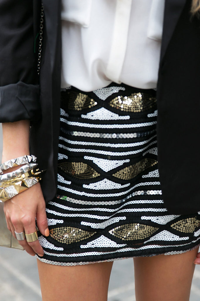 GISELE SEQUIN SKIRT - Black