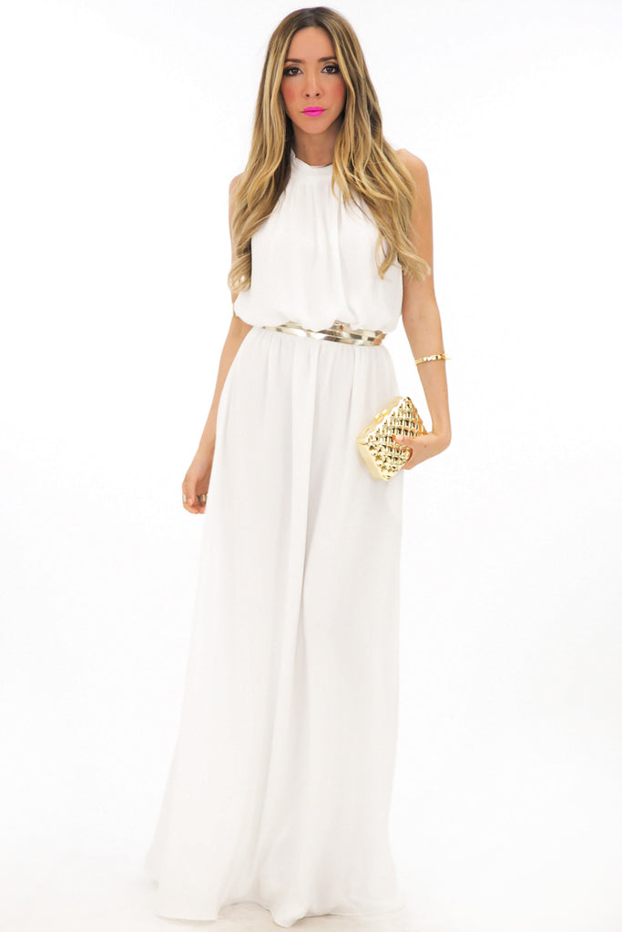 OPEN BACK HALTER MAXI DRESS - White